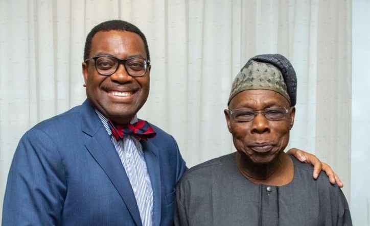 Dr Akinwumi A. Adesina (President of the African Development Bank Group, Left) and former President Olusegun Obasanjo of Nigeria